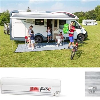 Fiamma F45S awning. 350cm - White case with a Royal Grey canopy