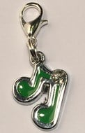 Music Note  - Green & Silver Collar Charm