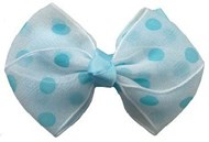 Blue & White Dot Hair Bows Large (5 Pack)