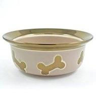 Nappa Matte Metallic Ceramic Handpainted Pet Bowl