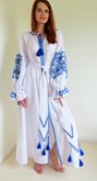 Ladies Long Sleeve Maxi Dress Blue Rose