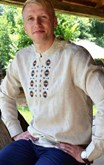 Mens Long Sleeve Shirt Modern Linen Pattern One