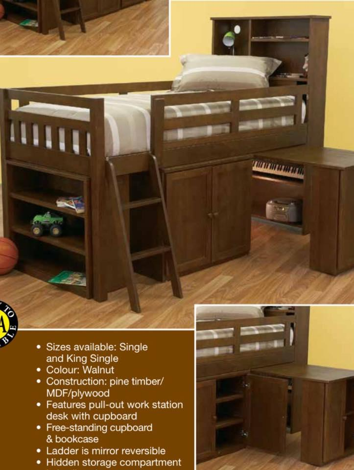 Single Cabin Bed In Walnut Stain Pullout Desk New Design