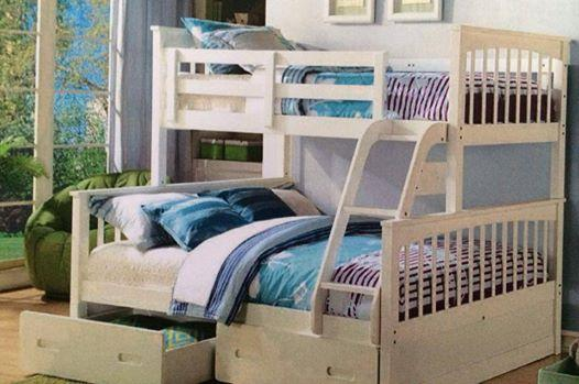 Bunk bed only double single in all white or a oak stain - All in one double bed ...
