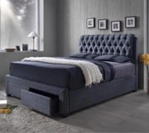 Queen fabric bed grey with drawer NEW