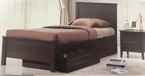 King single bed in choc or white with 2 x drawers NEW DESIGN
