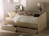 Day bed with 2 x drawers with head shelving NEW DESIGN
