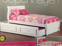 Trundle bed King single white with trundle