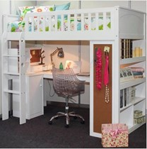 King Single loft bunk with loads of storage with bottom desk New Design