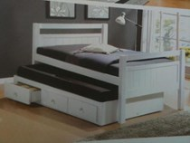 Trundle bed  single white with drawers