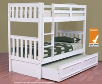 Bunk bed king single + king single trundle bed SOLID white NEW